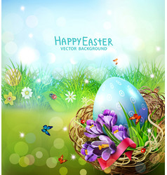 easter card with colorful eggs and vector image vector image