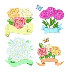 Hand drawn floral compositions with ribbons vector image
