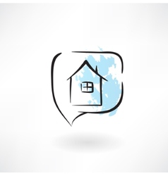 house grunge icon vector image vector image