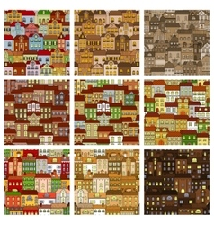 Houses and buildings seamless patterns set vector image vector image