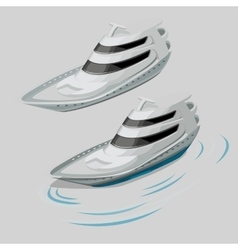 Modern white motor boat and silhouette of the wave vector image