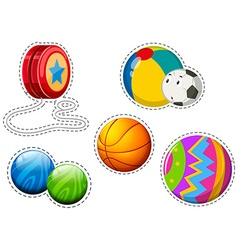 Sticker set of different balls vector image vector image