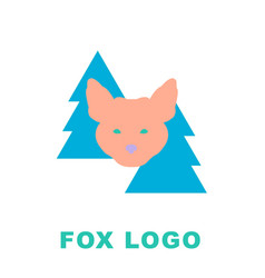 stylised logo mascot fox in woods vector image
