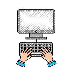 user with desktop isolated icon vector image vector image