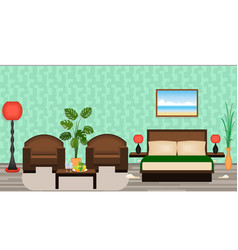 elegant hotel room interior with furniture lamps vector image vector image