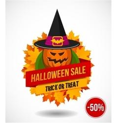 Halloween Sale Logo or Label vector image vector image