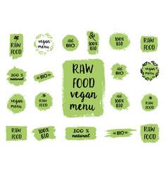 healthy food labels hand drawn logo templates vector image