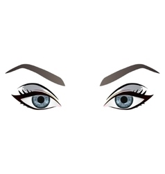 Realistic cartoon female eyes and eyebrows vector image