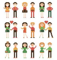 set of pixel people vector image vector image