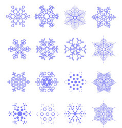 sixteen snowflakes as winter design element vector image