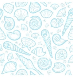 Vintage sea shell set pattern hand drawn vector
