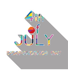 4th July with shadow on white background vector image