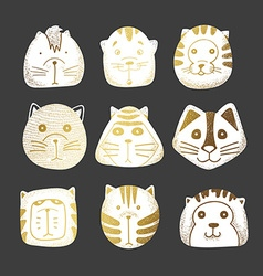 Cats set of cute doodle vector image vector image