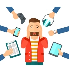 Desperate man with gadgets vector image vector image