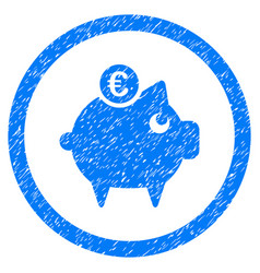 euro piggy bank rounded icon rubber stamp vector image vector image