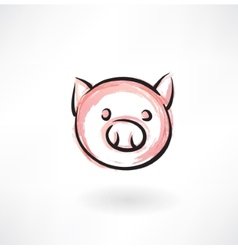 pig grunge icon vector image vector image
