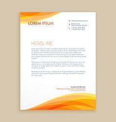 yellow wave creative letterhead vector image