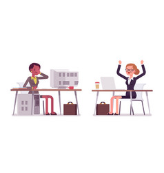 young businesswomen working at old and modern vector image