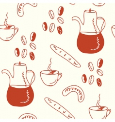 coffee doodle pattern vector image