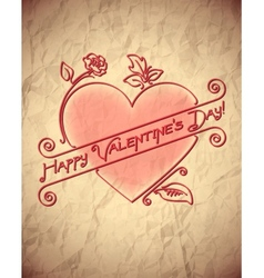 Crumpled vintage Valentines Day card with heart vector image vector image