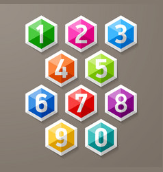 Diamond shaped glass numbers set vector image vector image