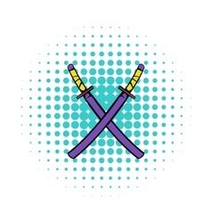 Japanese kendo sword icon comics style vector
