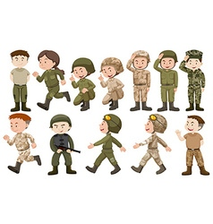 Male and female soldiers in uniform vector image vector image