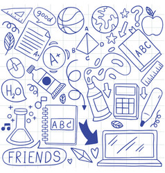 01-09-007 hand drawn set school icons vector