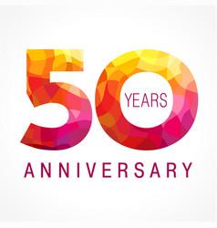 50 anniversary red logo vector image