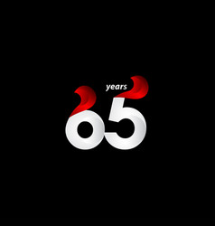 65 years anniversary celebration white and red vector
