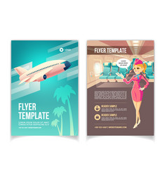 air travel service cartoon promo brochure vector image