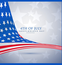 american flag in wave style 4th of july background vector image