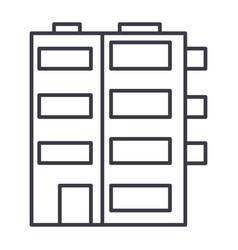apartment building line icon sig vector image