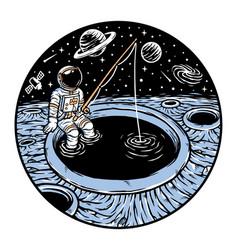 Astronaut fishing on planet vector