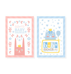baby shower invitation card template with lovely vector image