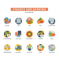 banking money finance services icons set sign vector image