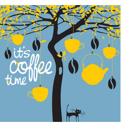 Banner for a coffee house with a picture of a tree vector