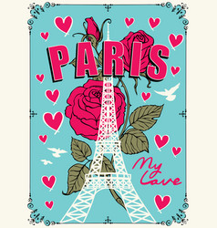banner with parisian eiffel tower and roses vector image