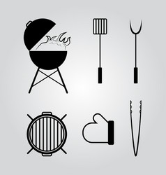 barbecue tools icons set vector image