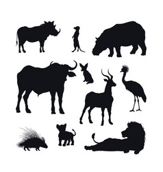 Black silhouette african animals vector