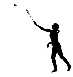 black silhouette of female badminton player on vector image