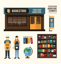 Bookstore set design shop store package t-shirt ca vector