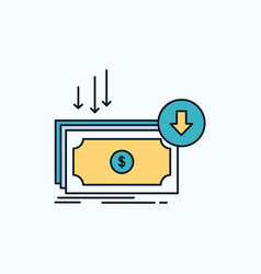Business cost cut expense finance money flat icon vector