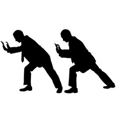 businessmen silhouettes pushing vector image