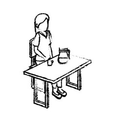 Businesswoman in cafeteria isometric avatar vector