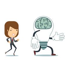 businesswoman run after idea bulb choices idea vector image