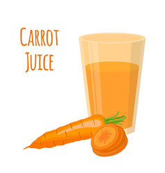 carrot juice carrot and slices cartoon style vector image