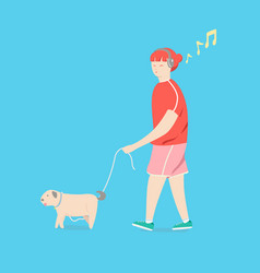 cartoon girl is walking with a dog vector image