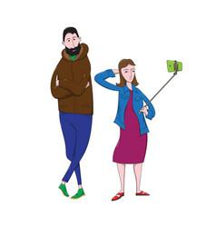 Cartoon girl makes selfie with tall bearded guy vector