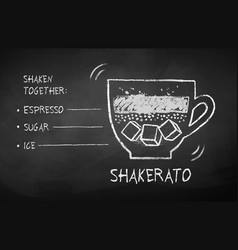 chalk drawn sketch shakerato coffee recipe vector image